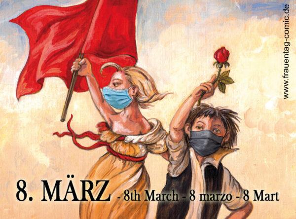 Comic-Karikatur zum Internationalen Frauentag am 08. März
